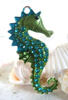 GLITTERY BLUE GREEN W CRYSTALS! Sea Horse PendantSea charmOceanBeach Jewelry by FlauntingCharms