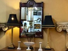 "Handsome Pair of Gold Buffet Lamps With Black Shades  Dealer #0108  34"" Tall   $168  Lucas Street Antiques Mall 2023 Lucas Dr.  Dallas, TX 75219"