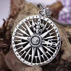 """Men's Sterling Silver Compass Pendant Necklace with Sterling Silver Wheat Chain 18""""-30"""""""