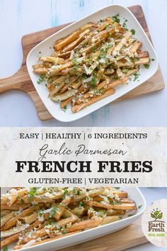Try These Simple Healthy Vegan Snacks Healthy Afternoon Snacks, Healthy Vegan Snacks, Vegetarian Recipes, Garlic Parmesan Fries, Dried Potatoes, Roasted Potato Recipes, Side Dish Recipes, Side Dishes, French Fries