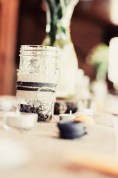 Burlap & Lace Mason Jar Centerpieces - Rustic Vintage Wedding Decor