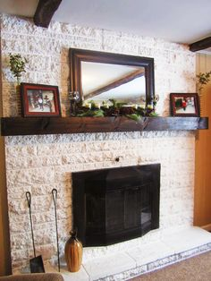 The Making of a Slip Covered Mantel – Made by Carli – Modern brick fireplace Updating House, Diy Fireplace Mantle, Brick Fireplace Makeover, Old Fireplace, Fireplace Decor, Brick Fireplace, Home Decor, Fireplace, Fireplace Hearth