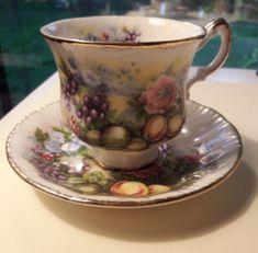 Vintage Paragon Tea Cup & Saucer Marlborough Series Fruit & Flowers Pink Blue