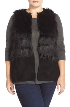 Vince Camuto Faux Fur Sweater Vest (Plus Size) available at #Nordstrom