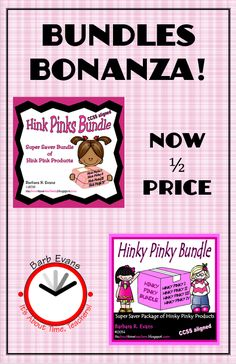 ALL of my bundles are now 1/2 price.  Score some amazing bargains!