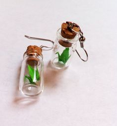 Origami Crane Vial Earrings by LoveForAchilles on Etsy, $20.00