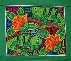 Iguana Mola - Textiel Art entirely hand stitched by Kuna Indian Women of Panama. http://www.worldtravelart.com/Panama_Mola_Iguanas_p/001621.htm