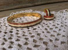 Retro Patriotic Enamel Bangle Bracelet With by happydayantiques