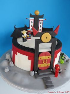 "J has been a Lego fan for years so logically he got into the Ninjago story. When I heard Ninjago cake, I thought ""I've got this, yellow c. Lego Ninjago Cake, Ninjago Party, Superhero Cake, Cakes Plus, Pear Cake, Zucchini Cake, Banana Bread Recipes, Cakes For Boys, Savoury Cake"