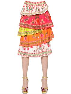 MANISH ARORA Sequined & Printed Layered Crepe Skirt, Multi. #manisharora #cloth #skirts