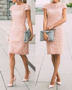 e28941afbec Pretty Spring Fall Outfits Pink Short Lace Street Dress Casual Dress on  Luulla Bridesmaid Dresses