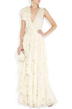 Fashionable A-line dropped waist chiffon over satin evening dress.    Mucho love.