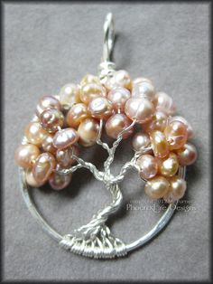 Tree of Life Pendant in Freshwater Pearl (Lavender Peach Pink) Wire Wrapped Sterling Silver Wedding Bride Bridal June $65.00 by #PhoenixFireDesigns #etsy #ibhandmade