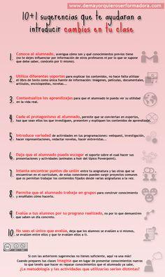 Infografía 10+1 sugerencias que te ayudaran a introducir cambios en tu clase