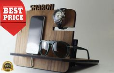 This item is perfect Custom Gift for Dad, Valentines Gift for Boyfriend,Fathers Day Gift, Gifts for Men or Gift for Dad, Anniversary Gift for Him, Gift for Him, Gifts for Men or Gift for Husband.   Formdecor is very glad to offer you high quality wooden handmade Docking Station. This item is most popular as Anniversary Gift for Him, Gift for Him, Gifts fir Men or Gift for Husband.  - Each charging station is made from high quality wood mdf .   -Dimensions are: 8.6 (H) x 9.6 (W) x 8.3 (D)…