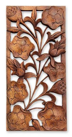 Wood relief panel, 'Sweet Lotus Flowers' by NOVICA