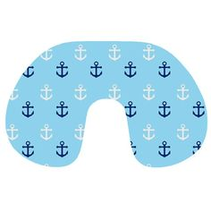 Anchors in Blue and White Travel Neck Pillow