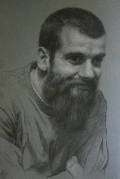 Artist Cesar Santos (Cuban-American: 1982) | Self portrait | Graphite & White Charcoal on Paper 11x8 in