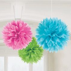 green, pink, and blue tissue pom poms you can get all three for ten dollars at birthday express :)