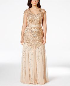 Adrianna Papell Plus Size Cap-Sleeve Embellished Gown - Dresses - Women - Macy's