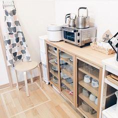Kitchen,食器棚,ケトル,カウニステ,シンプルナチュラル,ナチュラル,北欧,無印良品,収納 017mintの部屋