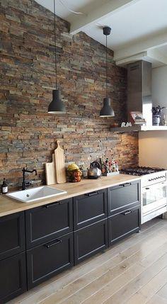Home Decor Kitchen, Interior Design Kitchen, Diy Kitchen, Kitchen Furniture, Brick Wall Kitchen, Kitchens With Brick Walls, Tiles For Kitchen, Industrial Kitchen Design, Wood Furniture