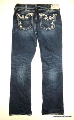 1602e72a1bc SILVER JEANS Suki Flap 17 Boot Cut Womens 31 x 33 Studded Embroidered Dark  Faded #SilverJeans #BootCut