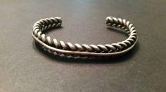 Handmade Sterling Silver Cuff Woven Braided Southwestern Bracelet 26 grams by Stellavintagejewelry on Etsy