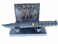 Here is a great Collectors' Set by Frost Cutlery! With details like Commemorative Plaque, Etched Blade, and Black Matte Stainless Steel, no one can resist, so get yours while you can! Cutlery Corner, Veterans Memorial, Frost, Bookends, Stainless Steel, Good Things, Shapes, Best Deals