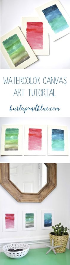 watercolor canvas art! these ombre watercolor canvases are a great DIY if your walls are in need of some art!