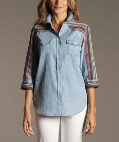 ravel Blue & Rainbow Stripe Button-Up - Women by ravel #zulily #zulilyfinds