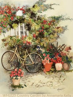 Silk ribbon embroidery: Country Garden by Annamaria Kelly from Johannesburg, South Africa . Happy Weekend!