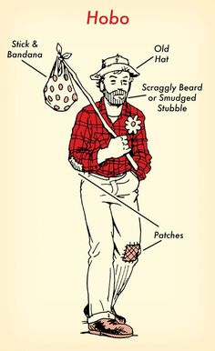 hobo halloween costume red flannel shirt illustration