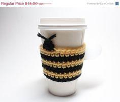 Bee Coffee Cozy Crochet Coffee Sleeve Bumble Bee by MsAmandaJayne, $11.25