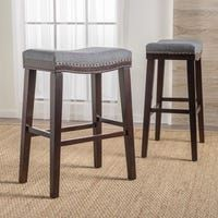 Lisette 26 Inch Brown Backless Counter Stool Set Of 2 By Christopher Knight Home In 2020 Bar Stools Counter Stools Backless Fabric Bar Stool
