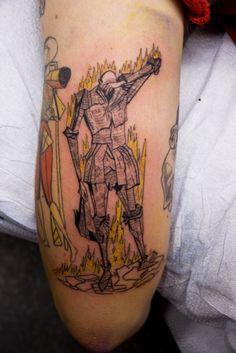 La muerte tarot card tattoo old new school tattoo for Fahrenheit 451 tattoo