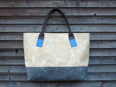 Waxed canvas bag/ carry all with leather handles by treesizeverse, $129.00