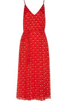 Christopher Kane Pleated printed silk crepe de chine midi dress.