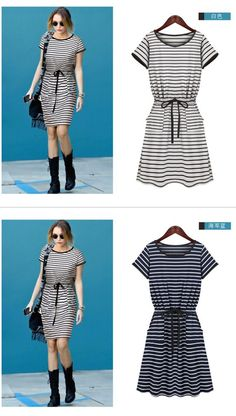 Casual Stripes Waistband Scoop Neck Short Sleeve Cotton Dress For Women