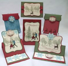 "By Jenny Moors. Easel cards made with Top Note Die and ""Lovely as a Tree"" stamps by Stampin' Up."