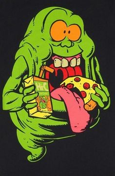 Pizza and Ghostbusters marathon. Likely to pass out though. Might have to spike that juice box. Kritzelei Tattoo, The Real Ghostbusters, Ghost Busters, Graffiti Art, Graphic, Cartoon Art, Zombie Cartoon, Comic Art, Comic Books