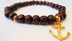 Handmade wood beads bracelet for man with gold anchor by nanamiss, $15.00