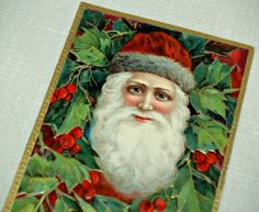 Antique Early 1900s SANTA CLAUS Postcard Ephemera Victorian Merry CHRISTMAS Greeting op Etsy, 9,23 €