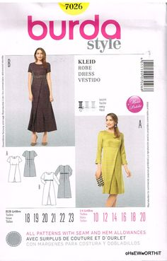 Burda Style 7026, Sewing Pattern, Misses' Dresses, Size 10, 12, 14, 16, 18, 20 by OhSewWorthIt on Etsy