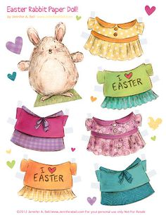 Easter Bunny paper dolls by We Love to Illustrate--I would have LOVED to have these as a little girl!