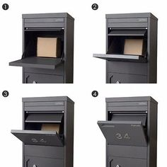 Modern design pillar letterbox with a corner facing mail slot and is made from galvanized steel and finished in a durable interpon powder coat. Available in 3 colours. Large Mailbox, Modern Mailbox, Metal Mailbox, Mail Storage, Locker Storage, Drop Box Ideas, Parcel Drop Box, Mail Room, Brick Colors