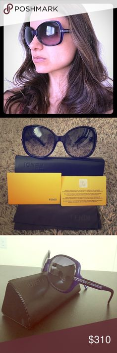 Authentic like new Fendi sunglasses w/ crystals These gorgeous Fendi sunglasses have only been worn twice! They come with everything - box, dust cloth, and authentication card. They are a deep purple color and seriously glamorous :) Fendi Accessories Sunglasses