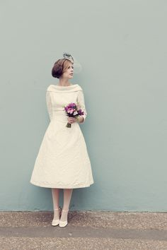 Sussex based vintage style photographer. quirky, fun wedding, bride, posie country flowers bouquet, brighton, cocktail hat, pretty short wedding dress. www.ruby-roux.com