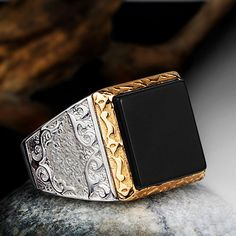 Mens Ring 925 K Silver Black Onyx Ring Natural Gemstone 9 to 11 sizes   Supernatural Style