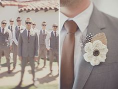 grey & brown suits for groom/groomsmen and great boutonniere